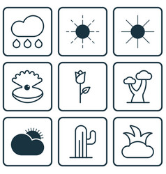 Set of 9 ecology icons includes seashell bush vector