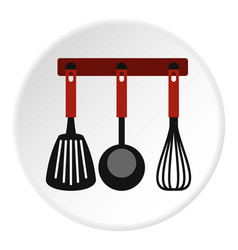Spatula whisk and ladle on hanger icon vector