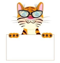 Tiger with poster vector image vector image