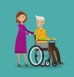Volunteer or nurse on walk with disabled elderly vector