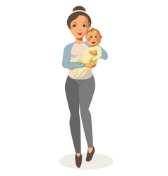 Walking young mother holds baby isolated on white vector