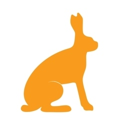 Wild hare rabbit animal flat silhouette vector image
