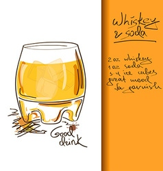 With whiskey and soda cocktail vector