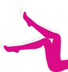 Woman pink stockings on long legs isolated on vector
