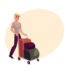 Young man pushing airport trolley with luggage vector image vector image