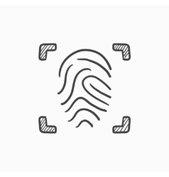 Fingerprint scanning sketch icon vector