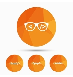 Programmer coder glasses html markup language vector