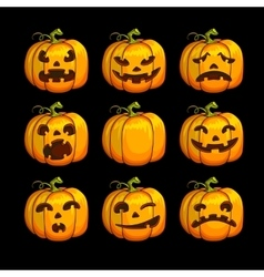 Halloween scary pumpkins set of different vector