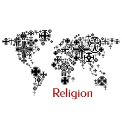 Religion world map with christianity cross symbols vector