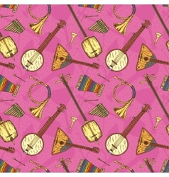 Seamless pattern with folk musical instruments vector