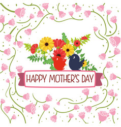 happy mothers day card flower birds - roses sparce vector image