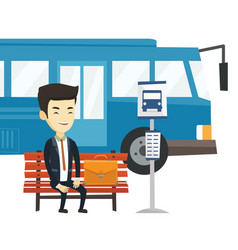 Business man waiting at the bus stop vector