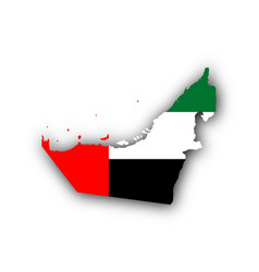Map and flag of the united arab emirates vector