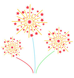 Fireworks with stars solid icon exploding vector