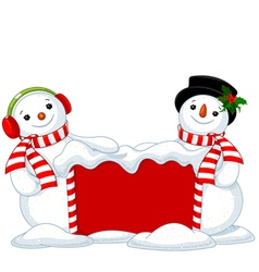 Christmas board and two snowmen vector