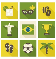 green and yellow brazil icons isolated on white vector image