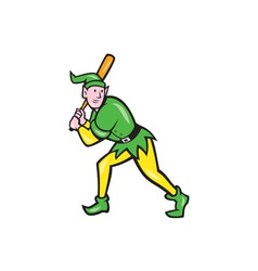 Elf baseball player batting isolated cartoon vector
