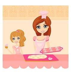 Happy mother helping her daughter cooking cakes in vector