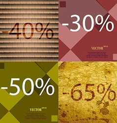 30 50 65 icon set of percent discount on abstract vector