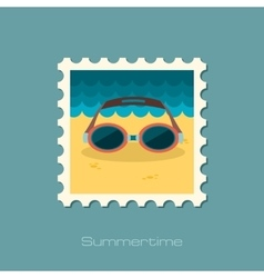 Swimming goggles flat stamp vector