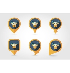 Bull mapping pins icons vector