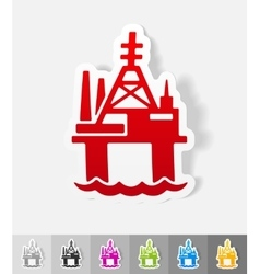 Realistic design element oil derrick in sea vector
