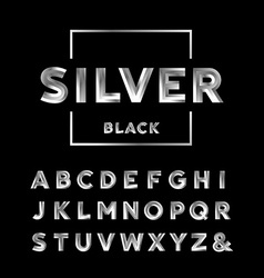 Silver font alphabet with chrome effect letters vector