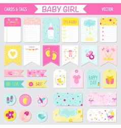 Baby girl shower or arrival set - tags banners vector