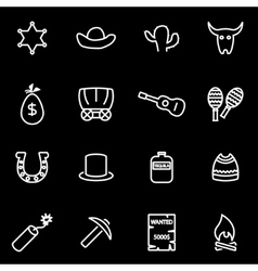 Line wild west icon set vector