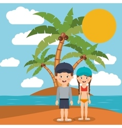 Summer vacations in family design vector