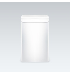White tin box packaging container for tea or vector