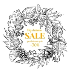 Autumn sale wreath banner with leaves and vector image vector image