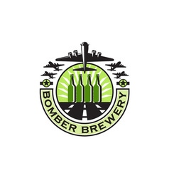 B-17 Heavy Bomber Beer Bottle Brewery Retro vector image
