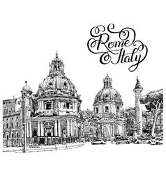 black and white digital drawing of Rome Italy vector image vector image