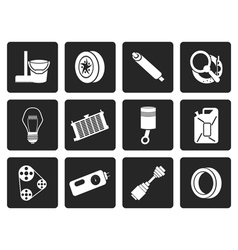 Black car parts and services icons vector