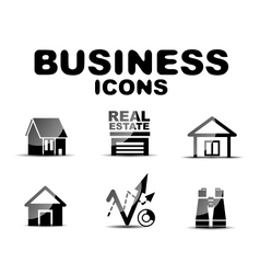 Black glossy business icon set vector image