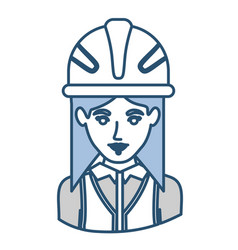 Blue silhouette with half body of female architect vector
