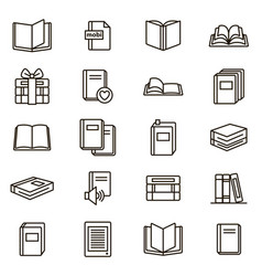 book signs black thin line icon set vector image vector image
