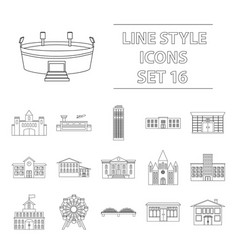 building set icons in outline style big vector image