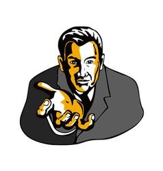 Businessman extending hands vector