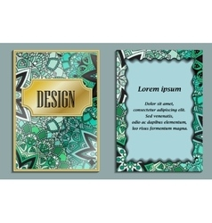 Card or invitation in oriental style with green vector image vector image