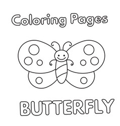 Cartoon butterfly coloring book vector