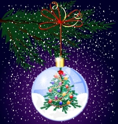 christmas tree and snow vector image vector image