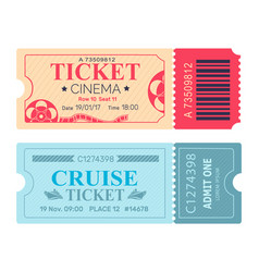 Cinema ticket cruise coupon vector