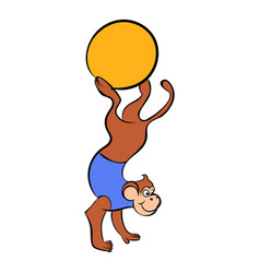 Circus monkey on the ball icon cartoon vector