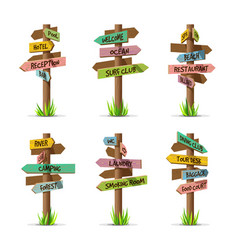 colored wooden arrow signboards resort set vector image vector image