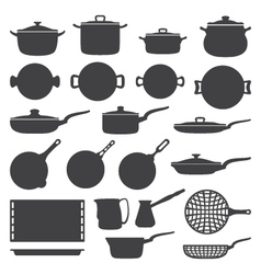 cookware silhouette set vector image vector image