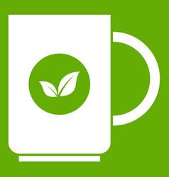 cup of tea icon green vector image vector image