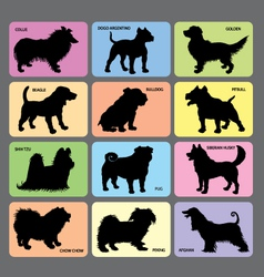 Dog silhouette cards 2 vector image