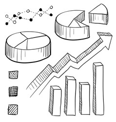 doodle graphs charts vector image vector image